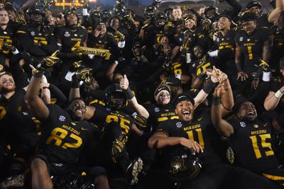 The Missouri Tigers celebrate their senior night and Battle Line Rivalry game