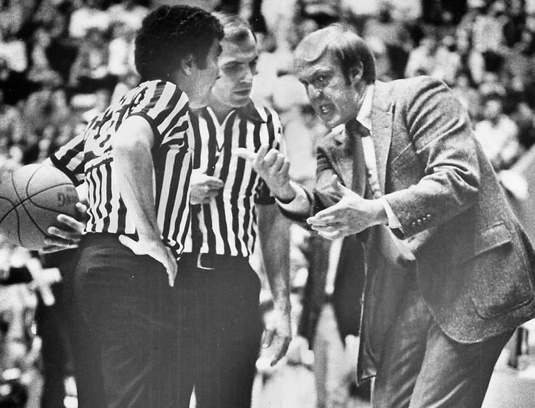 Norm Stewart registers a complaint with an official during a game against Nebraska