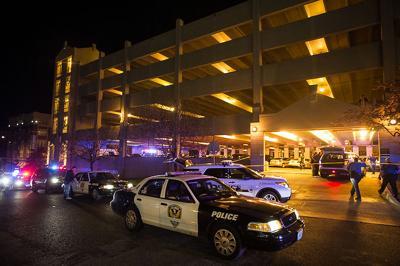 Columbia police and MU police surround Hitt Street Garage