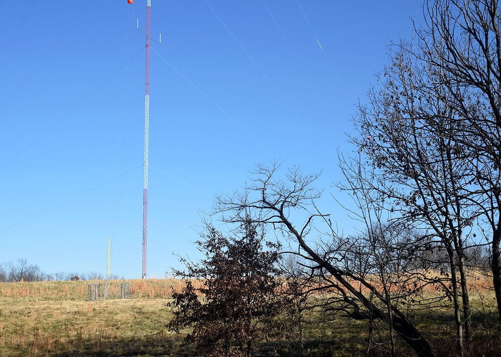 A Howard County meteorological tower records wind speeds