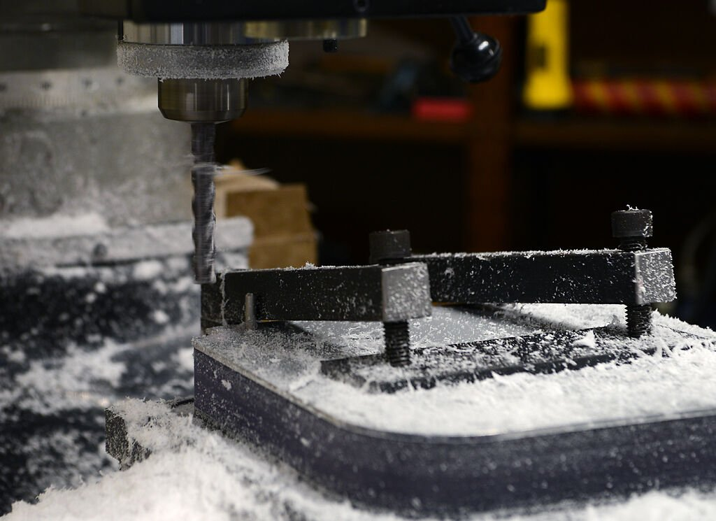 The CNC milling machine covered in plastic shavings on Monday, August 3, 2020, in MU's Lafferre Hall