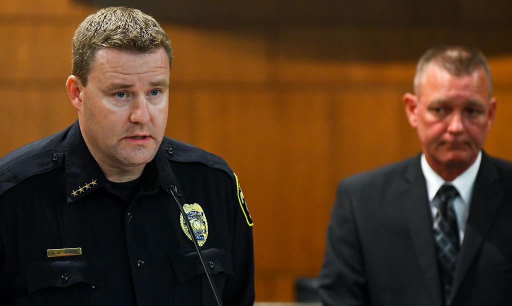 Columbia Police chief Geoff Jones, left, and assistant director of Utilities David Sorrell