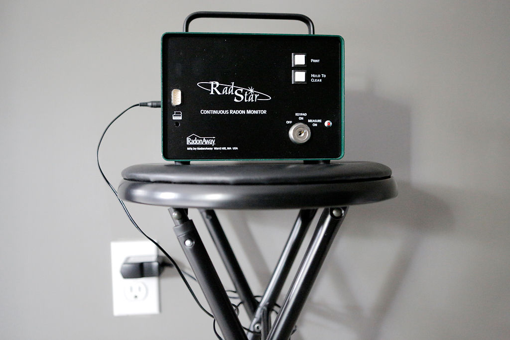 Scott Wilson's continuous radon monitoring maching sits in a Columbia residence