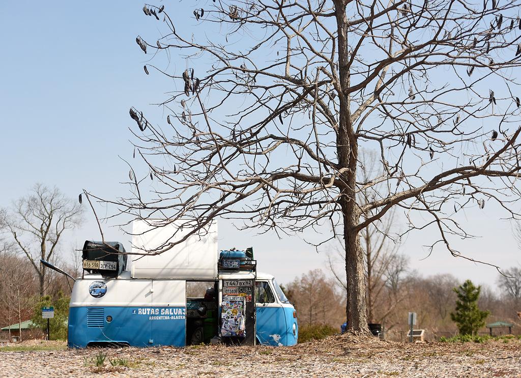 Franco Paltrinieri's modified Volkswagen van sits at Stephen's Lake Park