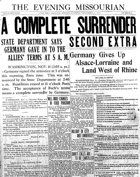 Missourian front page on Nov. 11, 1918