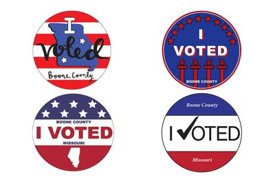 """Pictured are four """"I Voted"""" sticker designs that were created by high school students in Columbia."""