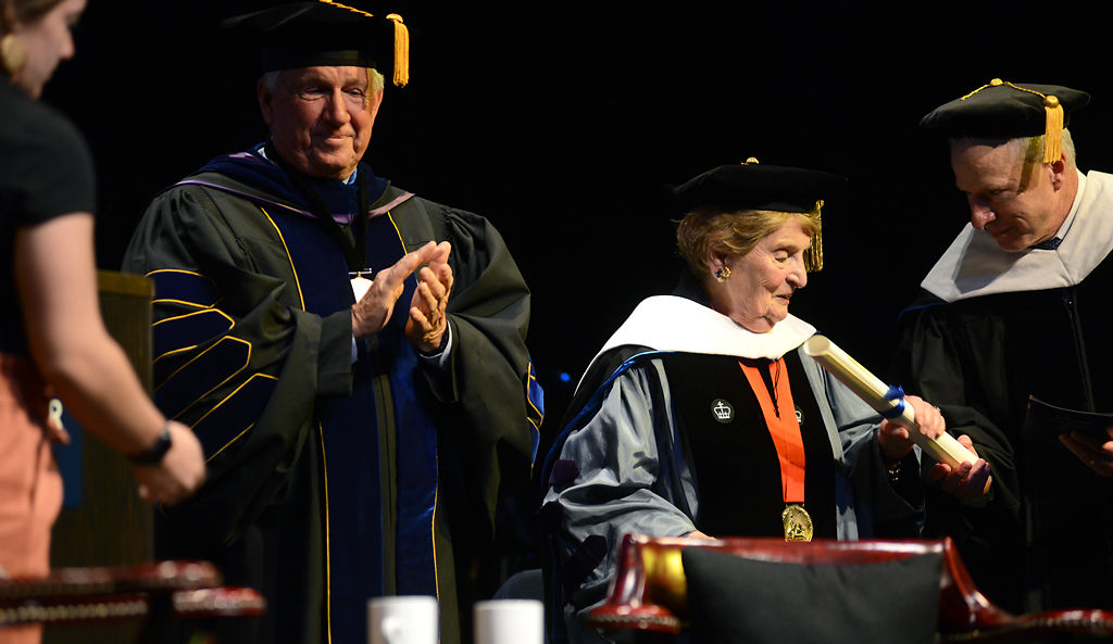 Dr. David Jones, right, marshal of the college at Westminster College