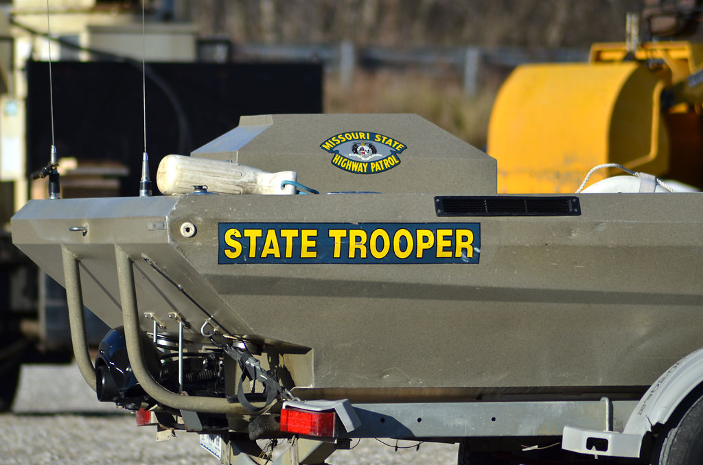 State Trooper's rescue boat gets ready to go into the river a just a little after 9 am on Wednesday, Dec. 4, 2019.
