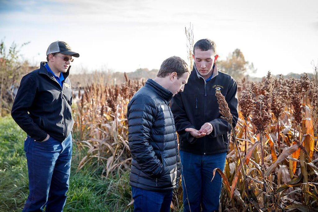 Mark Zuckerberg looks at seeds next to a field with Dustin and Austin Stanton