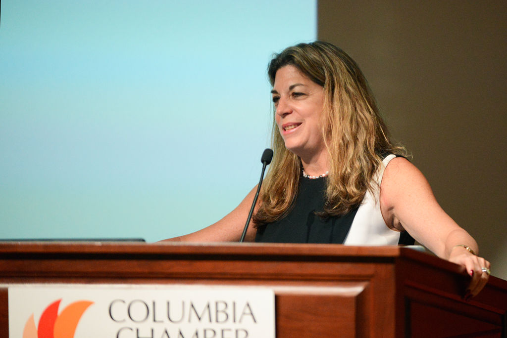 Sarah Quinlan gives a speech at Economic Outlook Conference