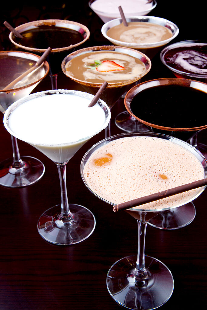 Chocolate martinis sit on a table