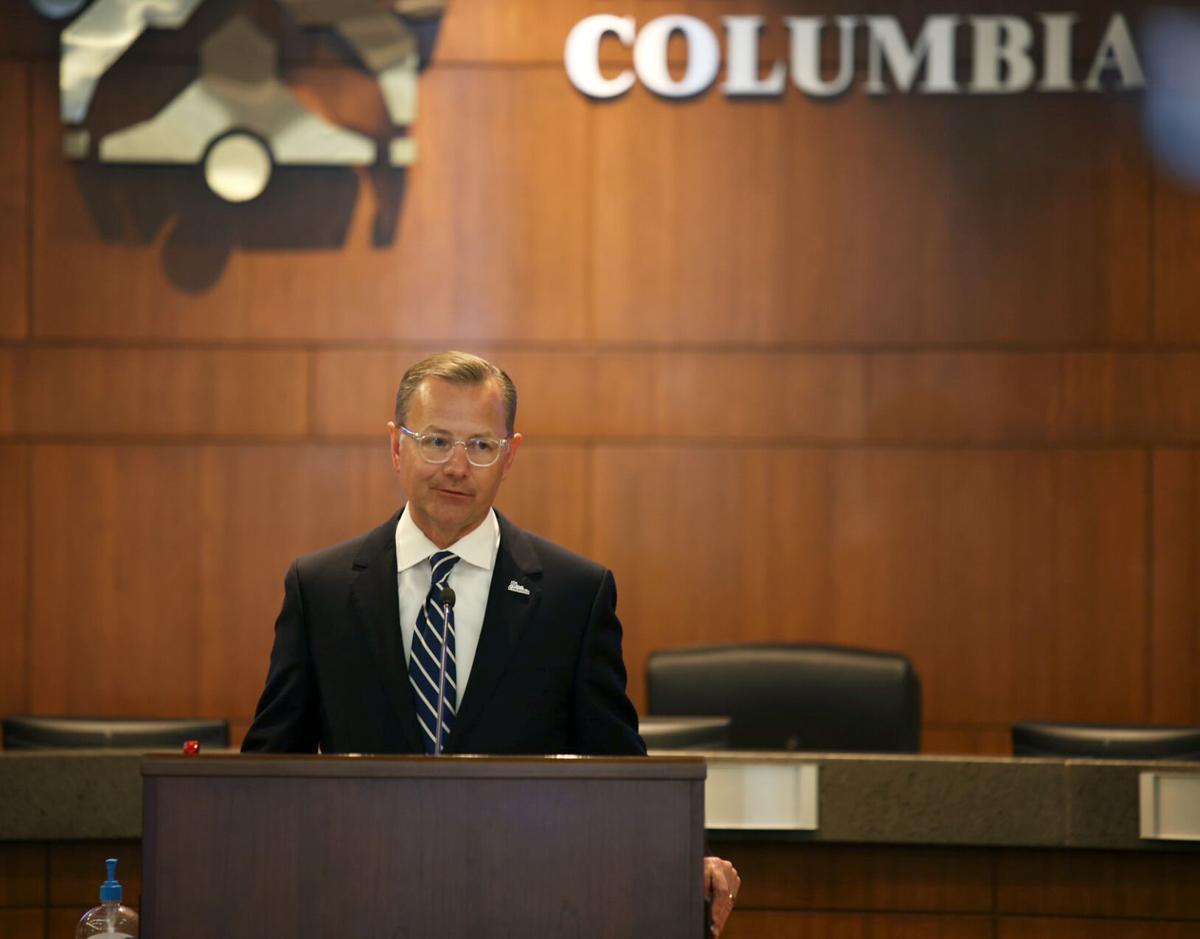 Columbia Mayor Brian Treece speaks at a community briefing