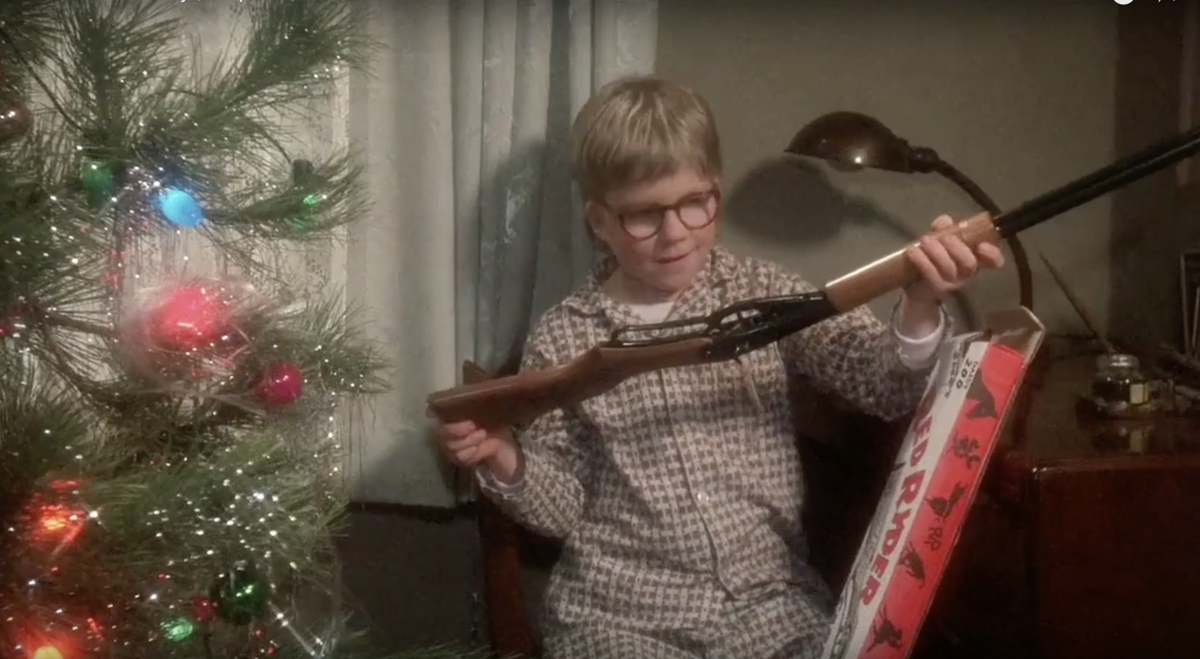 Ralphie gets the BB gun he wanted for Christmas.