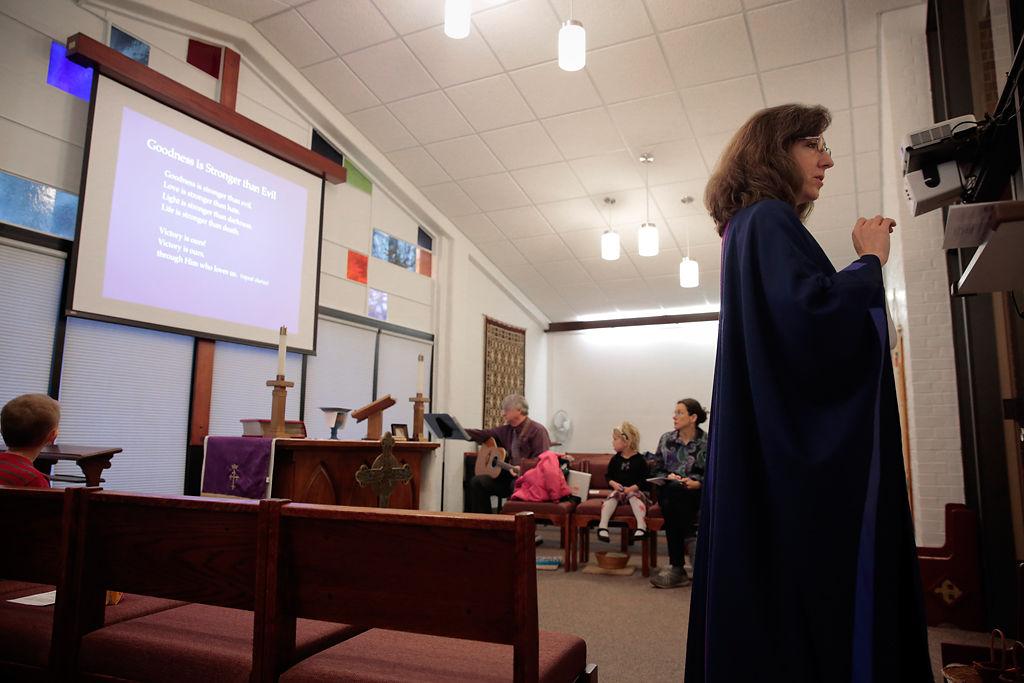 Cathy Rosenholtz prepares the Rite Place Liturgy