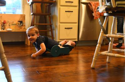 Dad invents 'The Frog'  to help 2-year-old son with spina bifida crawl