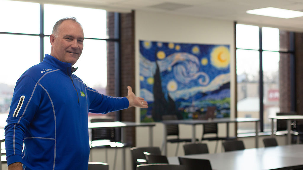 Mike Reynolds shows one of six brand new and full-size classrooms