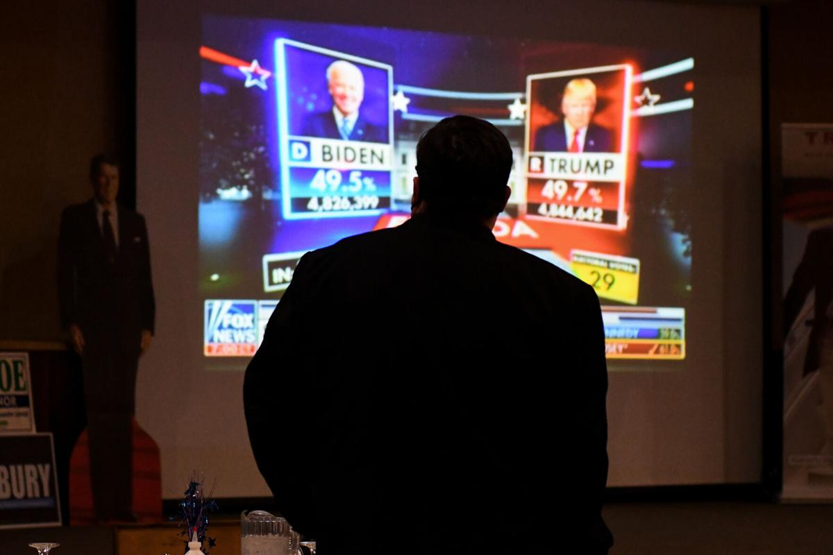 Mike Zweifel watches election results