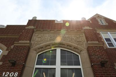 The name of Robert E. Lee sits above school entrance