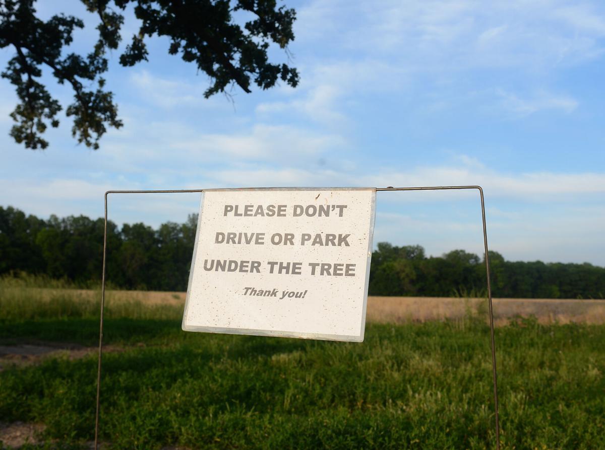 A sign advises against parking