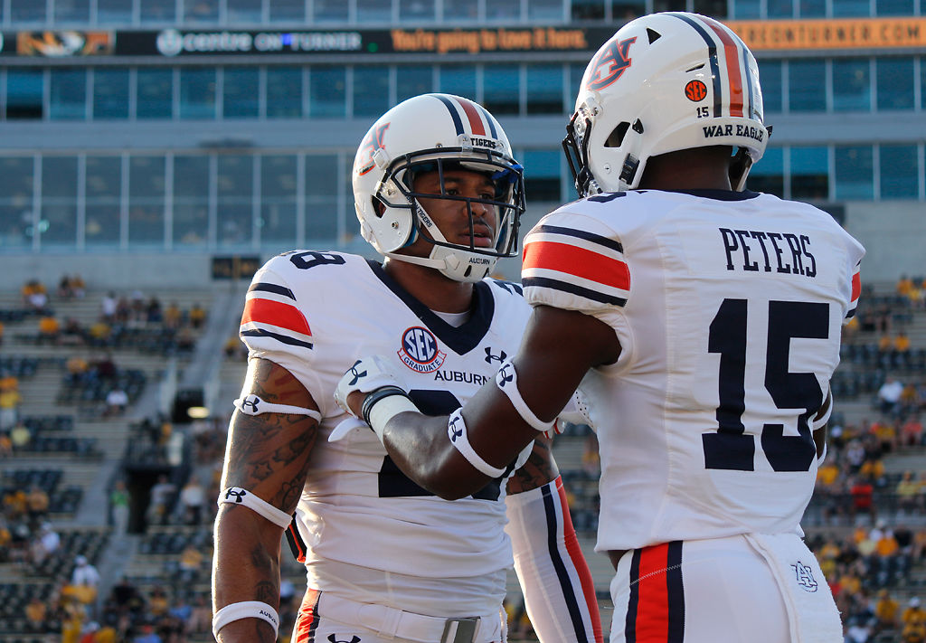 Auburn defensive back Jordyn Peters psychs up wide receiver