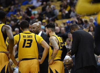 Mizzou men's basketball head coach Cuonzo Martin talks to the team