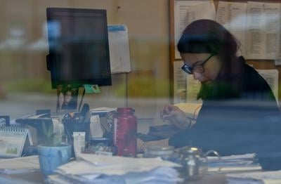 Columbia District Defender Sarah Aplin works in her office