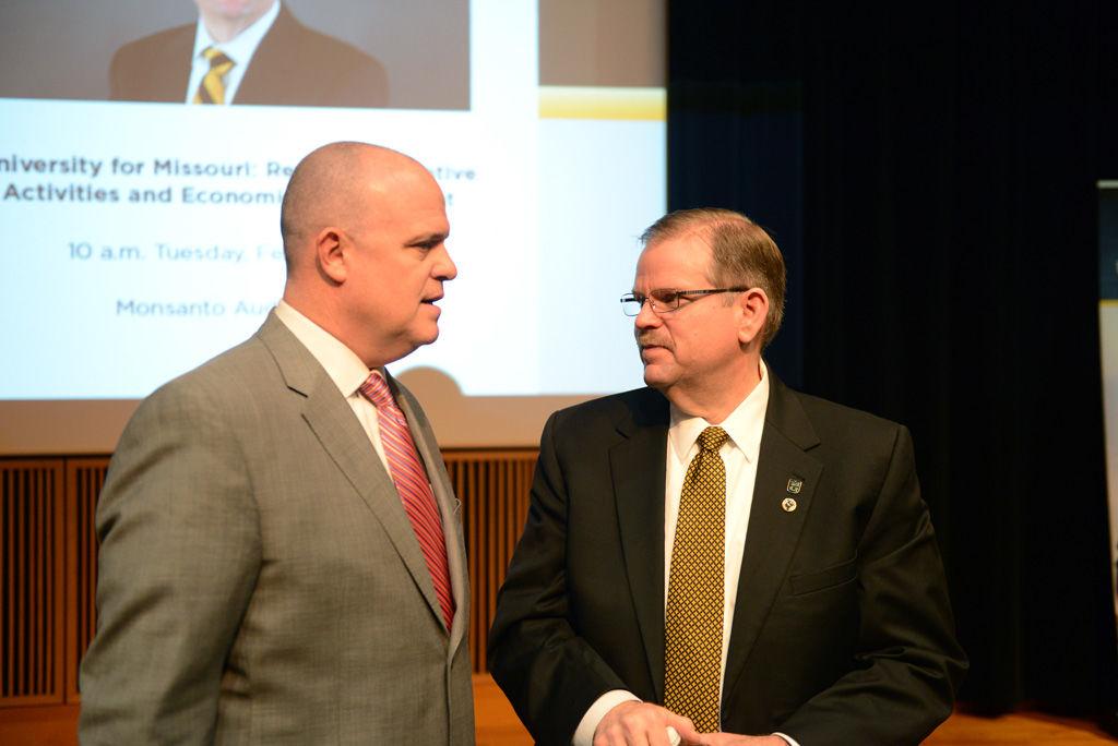 MU Chancellor Alexander Cartwright speaks with Matt McCormick