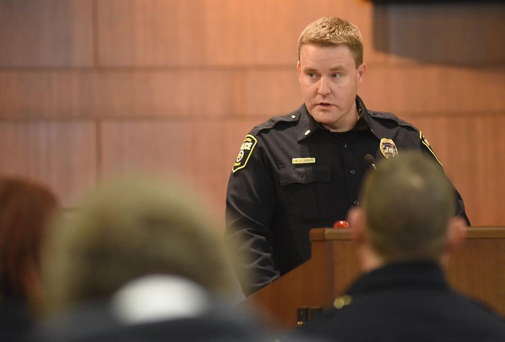 Lt. Geoff Jones speaks to the public as Columbia's new Interim Police Chief