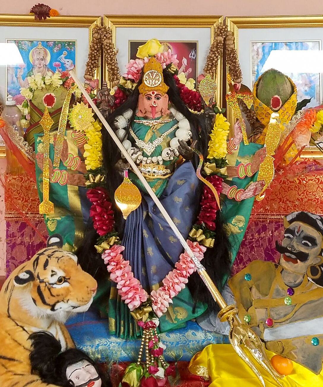 A Durga idol at Columbia's Shanthi Mandir. 2019.
