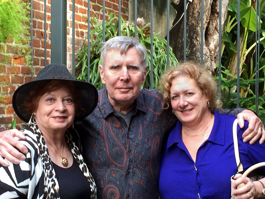 Jeannette and Richard Thompson and friend Becky pose on Thanksgiving Day 2015 on the patio of Chateau Orleans, located in New Orleans' French Quarter, Louisiana.