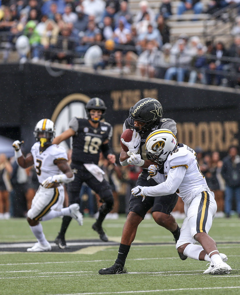 Vanderbilt tight end Jared Pinkney runs after the catch