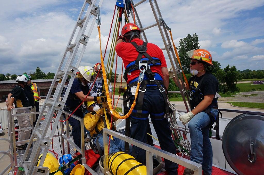 Trainees and instructors simulate a grain entrapment scenario