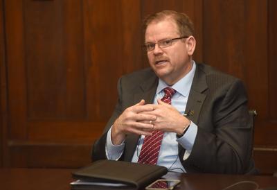 MU Chancellor Alexander Cartwright speaks during an interview