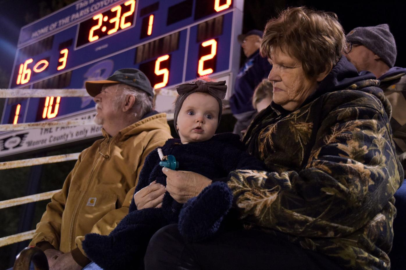 Josephine Schulte, 7 months, bundles up for the cold with her grandparents