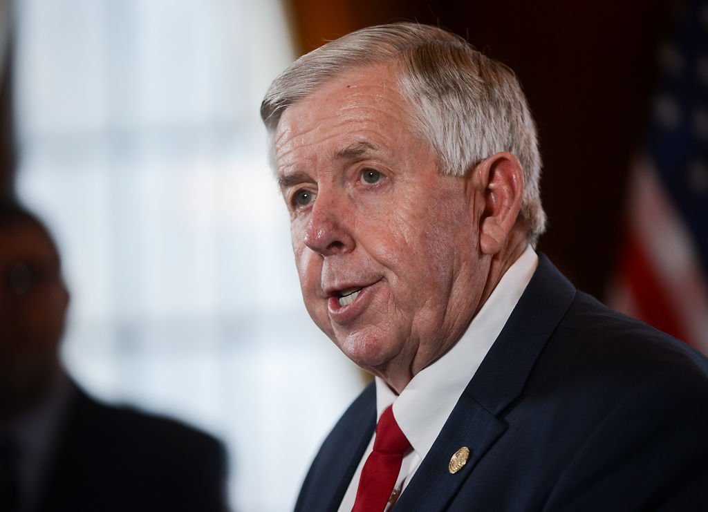 Mike Parson speaks at a news onference