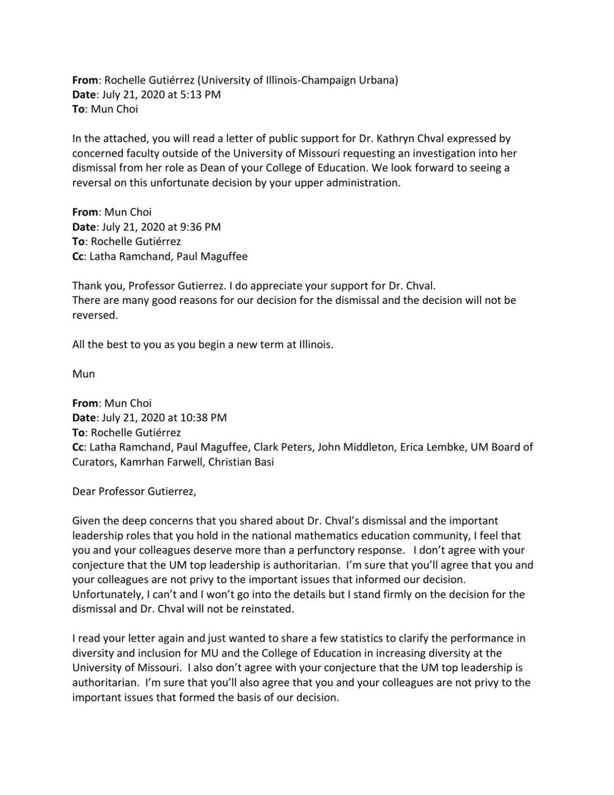 Email exchange between math education professor and Mun Choi