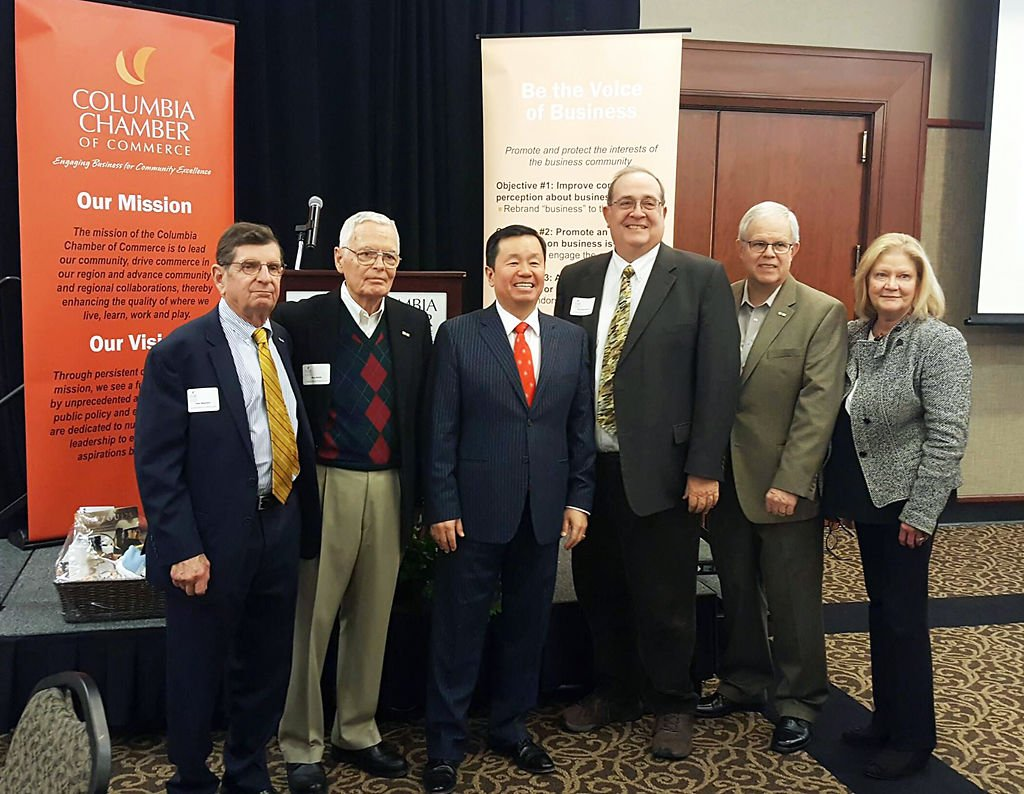 Columbia Chamber of Commerce and Mun Choi pose after conversation (copy)