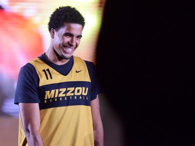 Sophomore Jontay Porter laughs at Mizzou Madness (copy)