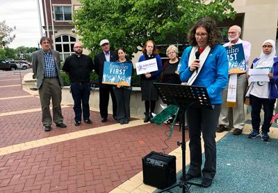 """The Rev. Sarah Klaassen speaks at a Faith Voices of Columbia news conference, urging city officials to consider a """"moral budget"""""""