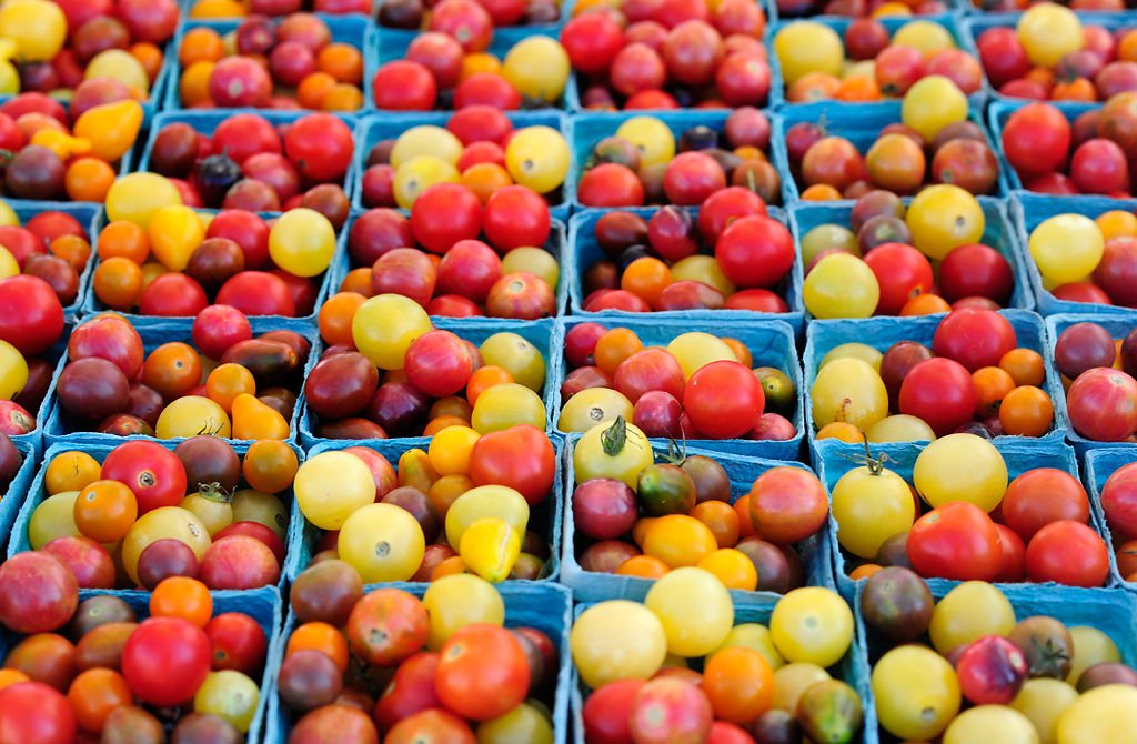 Cherry tomatoes sit on display