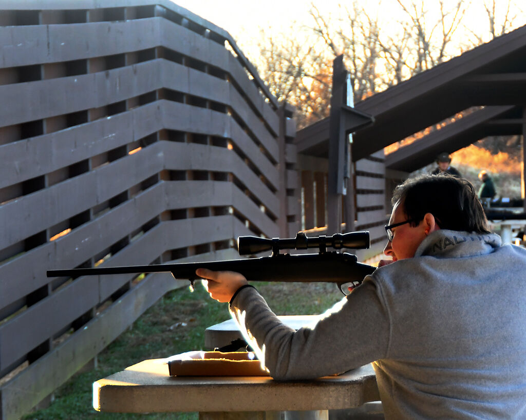 Nathaniel Gard practices for the upcoming deer season