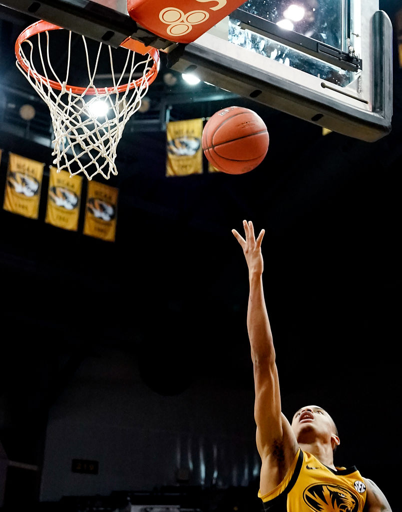 Xavier Pinson makes a layup during the game against Ole Miss