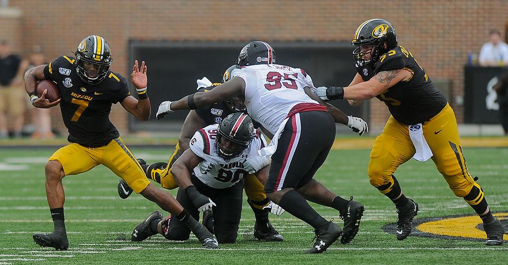 Missouri quarterback Kelly Bryant throws a stiff arm (copy)