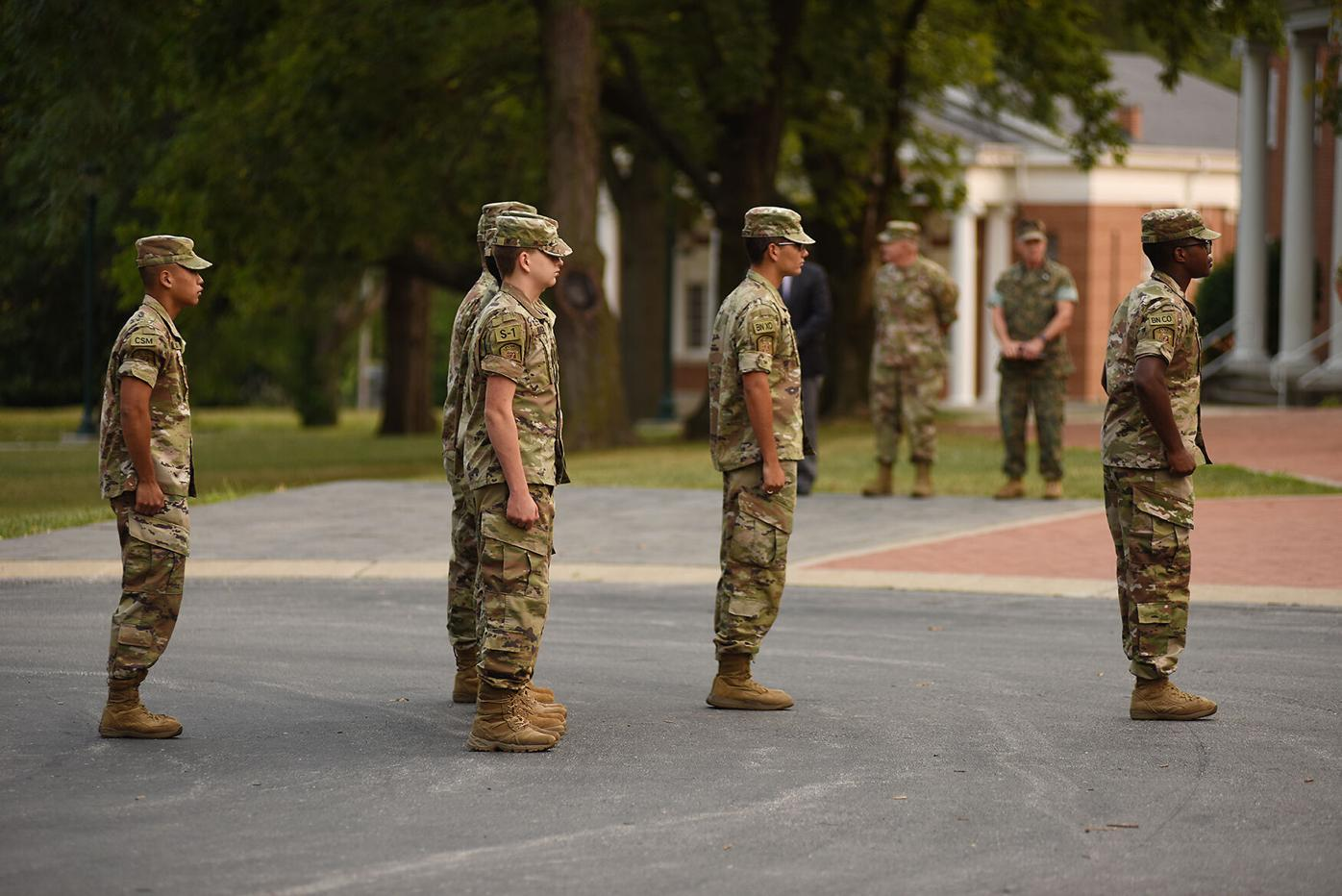 Cadets at the Missouri Military Academy observe a period of silence