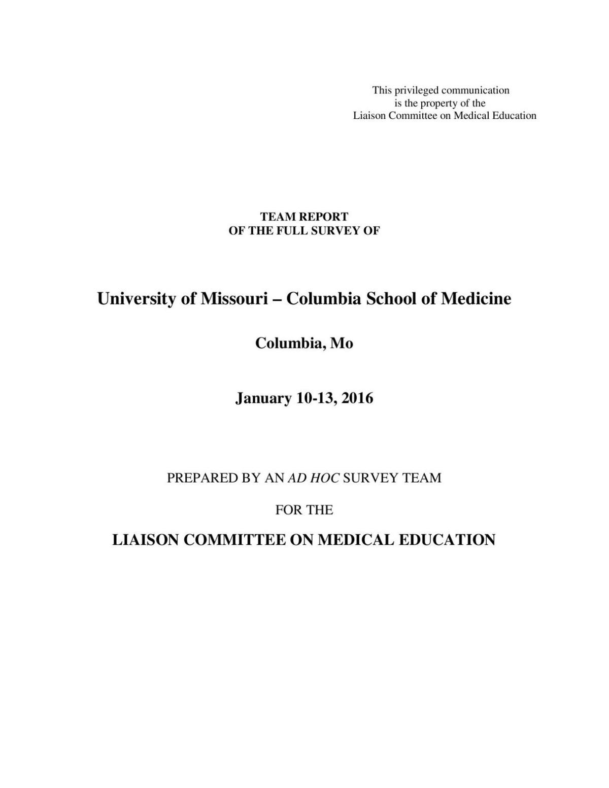 Mu medical school retains accreditation has two years to make big download pdf lcme report xflitez Gallery