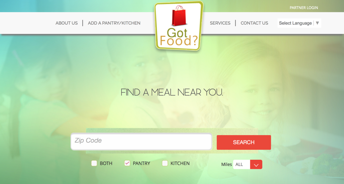 Screenshot of Got Food? app website