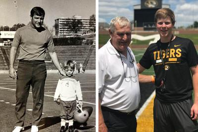 Harold Horton, a college football coach for almost three decades, stands with his son, Tim in left image and with his grandson, Barrett Bannister, on the right