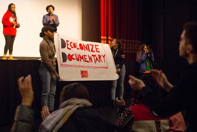"""Students protest at the screening of """"The Commons"""""""