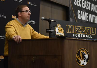 Football head coach Eliah Drinkwitz talks to reporters on National Signing Day