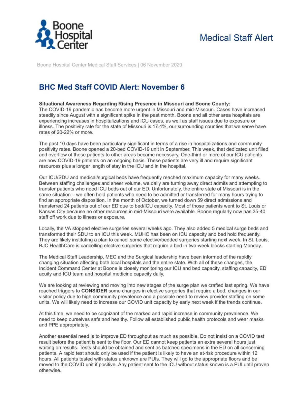 BHC COVID-19 Alert Nov. 6